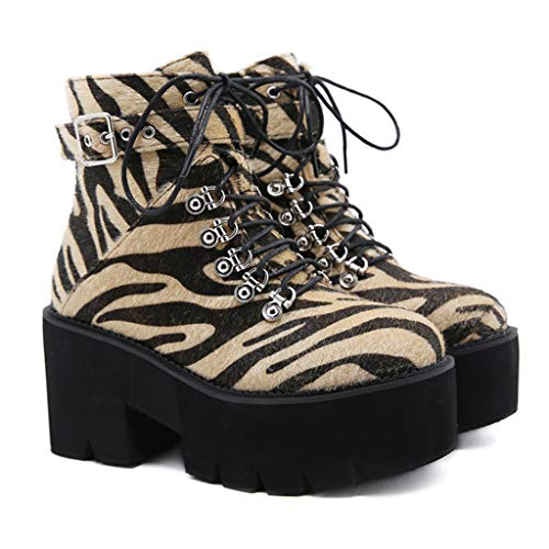 KVAQ Moderne Lässige Damenstiefel, Leopard-Druck-Metall-Runde Zeh-Kurzstiefel Sind Sehr Gut Geeignet, Um Mit Jeans-Leggings Und Röcken Zu Tragen,37