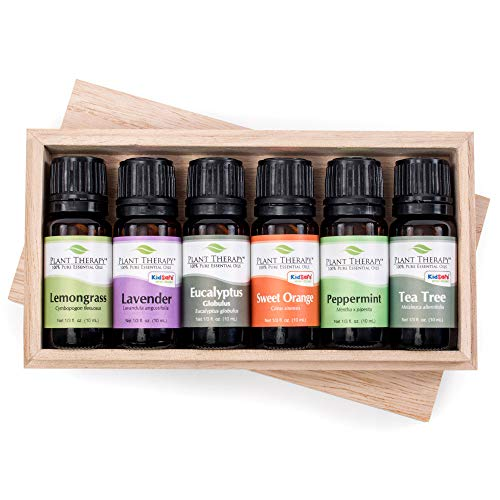 Plant Therapy Breathe Easy Essential Oils Set | Lavender, Eucalyptus, Peppermint, Lemongrass, Orange Sweet, Tea Tree, In A Wooden Box | 100% Pure, Aromatherapy, Therapeutic Grade | 10 mL (1/3 oz)