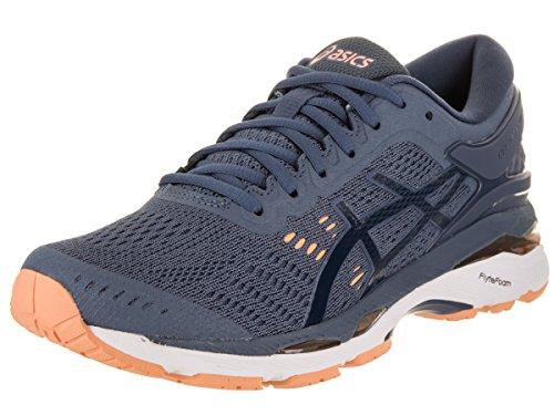 ASICS Women's Gel-Kayano 24 Running Shoes, 5M, Smoke Blue/Dark Blue/CANTELOUP