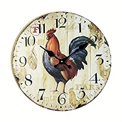 Eruner Antique Style kitchen Clock, 14-inchRooster Vintage Wood Wall Clock (C-43)