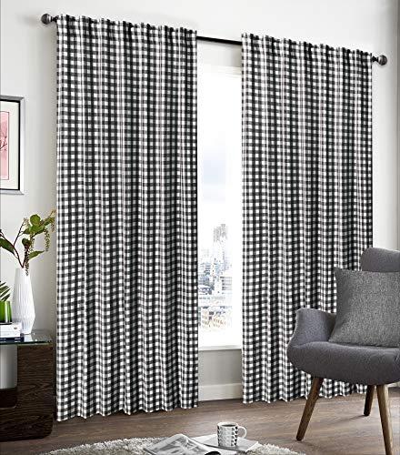 "GLAMBURG 2 Pack 100% Cotton Window Curtain Panel 50""X108"" Gingham Check Plaid Farmhouse Style Tab Top Curtains Black"