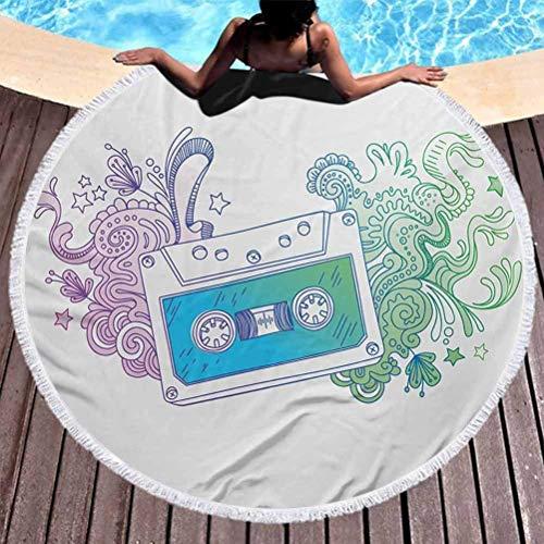 Toalla de playa para exteriores Tapiz de Doodle de secado rápido Esterilla de yoga Borlas Cinta de casete de audio circular con arte lineal Floral Musical Old Fashion Melody Print Manta multifunción A