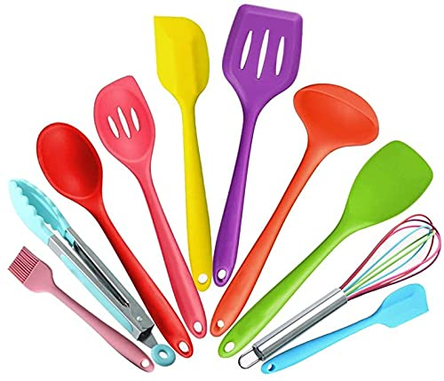 10 Piece Silicone Kitchen Utensils Set, Heat Resistant Multicolor Kitchen Cooking Set Including Brush, Tongs, Spoon, Slotted Spoon, large Spatula, Slotted turner, ladle, Baking Spoonula (Color mixing)