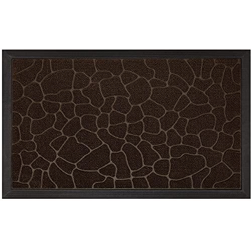 Gorilla Grip Original Durable Natural Rubber Door Mat, Waterproof, Low Profile, Heavy Duty Doormat for Indoor and Outdoor, Easy Clean, Rug Mats for Entry, Patio, Busy Areas, 17x29, Dark Brown Pebble