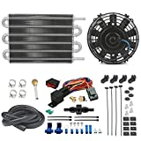 American Volt 6 Row Engine Transmission Oil Cooler 6' Inch Electric Cooling Fan & 6AN In-line Hose Thermostat Switch Wiring Kit (200'F On - 185'F Off)