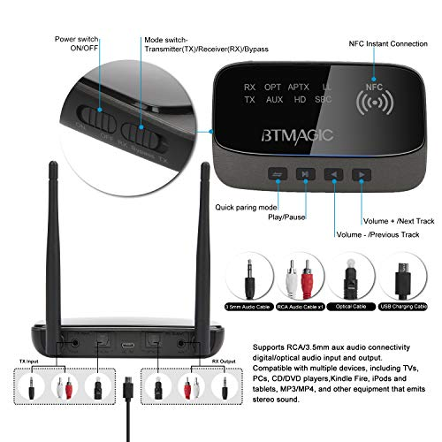 BTMAGIC Bluetooth 5.0 Transmitter Receiver 265FT Long Range 3 in 1 Bluetooth Audio Adapter aptX HD & aptX Low Latency, Optical RCA AUX 3.5mm for TV Home Stereo PC Headphone/Speaker, USB Rechargeable