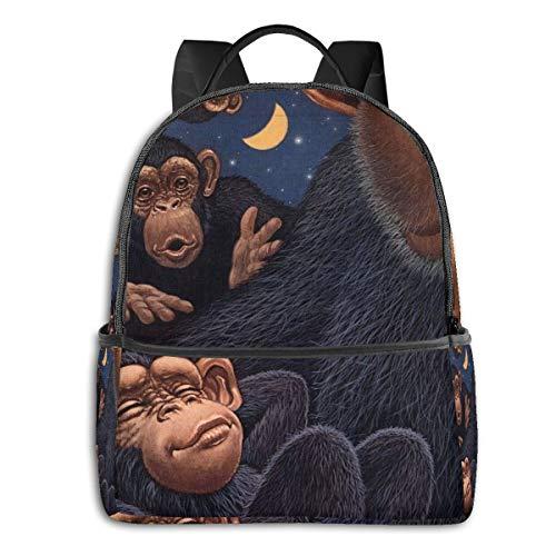 FONDSILVER Sac à Dos Funny Orang-outan avec Petit garçon pour école, étudiant, Livre, Ordinateur Portable, pour garçons, Filles, Adolescents