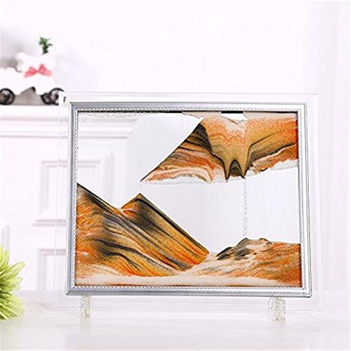 SUPERPOWER® Rechteckiger Glasrahmen Sandbild 3D abstrakte Sicht Gelb sanfte Bewegung Sand Sanduhr Gemälde für Erwachsene Kinder Kinder – 17,8 cm