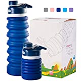 OUOUPS Collapsible Water Bottle, BPA Free, Leak Proof Portable Water Bottle for Indoor and Outdoor, Navy Blue 550ML for Hot and Cold Drink, 18oz…