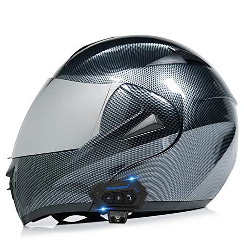 UIGJIOG Cascos modulares para Motocicleta Espejo antivaho Doble certificación Dot Cascos giratorios abatibles Bluetooth + FM Altavoz Doble Incorporado Auriculares Bluetooth