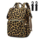 Leopard Printing Diaper Bag Large Capacity Waterproof Nursing Backpacks Nappy Bags for Mom (Brown)
