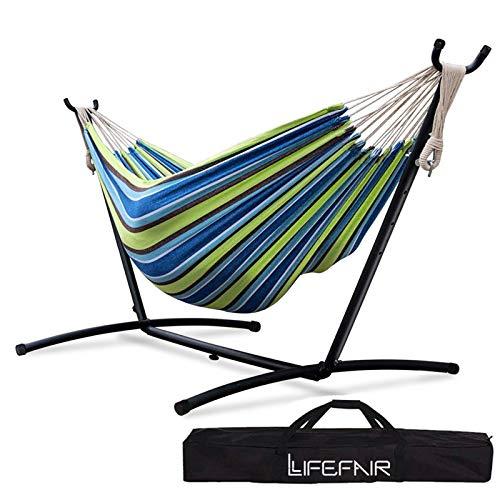 LifeFair ハンモック 自立式スタンドセット ダブルサイズ 室内 室外 兼用 収納バッグ付き耐荷重300kg