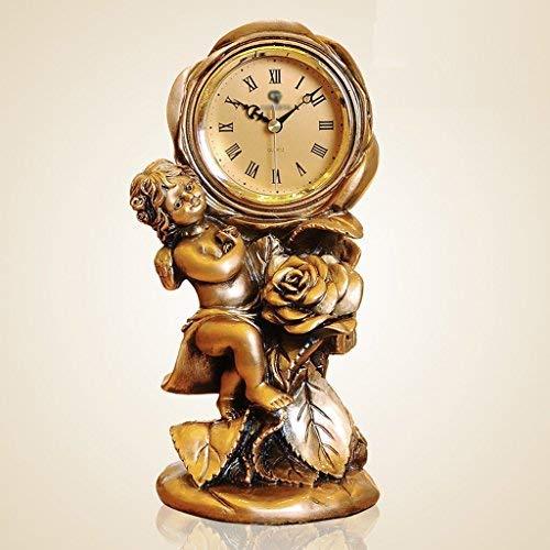 GFF Europäische Engel Uhr Ornamente, Stilvolle Wohnzimmer Dekoration Kreative Antike Quarzuhr (14,5 * 24,5 * 12 cm)
