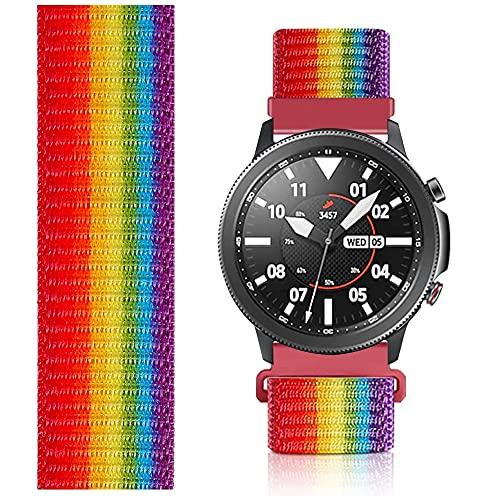 Niboow 22mm Solo Loop Armband Kompatibel mit Samsung Galaxy Watch 3 45mm, Nylon Ersatzband für Samsung Gear S3 Frontier/Samsung Gear S3 Classic/Samsung Galaxy Watch 46mm/Samsung Gear S-Regenbogen