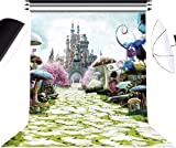 Alice in Wonderland Photo Backdrop Photography Background for Newborn,Baby Shower,Child's Birthday Party Decorations Supplies Booth Studio Props (5'Wx7'H)