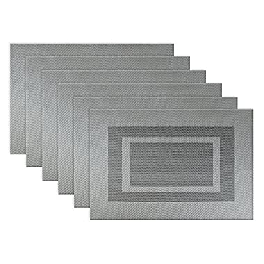 DII Everyday, Easy to Clean Indoor/Outdoor Woven Vinyl Double Border Placemats, 13x18, Gray - Set of 6