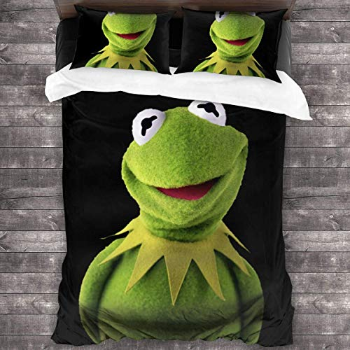 LZMM Kermit The Frog 3-Piece Bedding Set Soft Lightweight Quilt 86 X 70 in Women Man Pillowcases Home One Size