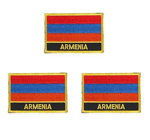 Aufnäher mit Armenien-Flagge, bestickt, zum Aufbügeln oder Aufnähen, 3 Stück