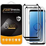 (2 Pack) Supershieldz for Samsung (Galaxy S9 Plus) Tempered Glass Screen Protector with (Easy Installation Tray) Anti Scratch, Bubble Free (Black)