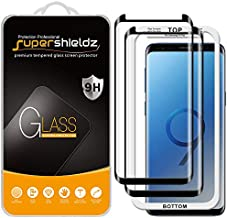 (2 Pack) Supershieldz Designed for Samsung (Galaxy S9 Plus) Tempered Glass Screen Protector with (Easy Installation Tray) Anti Scratch, Bubble Free (Black)