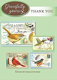 Gracefully Yours Grateful Hearts - Thank You Greeting Cards Featuring Michelle Palmer, 12, 4 Designs/3 Each with Scripture Message