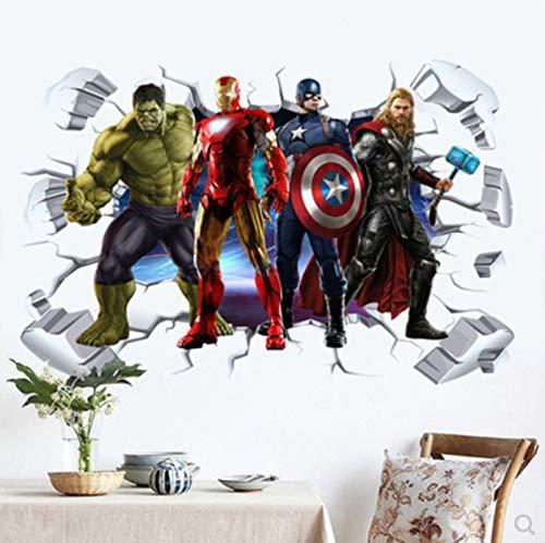 AINSS 60X90CM 3D Avengers Spiderman Iron Man Captain America Thor Hulk Superman Wandaufkleber Poster Wandtattoo Schlafzimmer Wandtattoo Kinderzimmer Wandtattoo Wohnzimmer Wandaufkleber