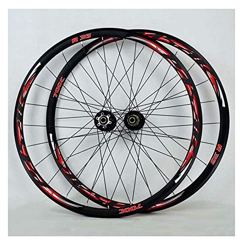 YOOXI Ruedas de La Bici de MTB, Freno del Borde V del Camino de La Aleación de Aluminio 700C / Velocidad Compatible 7/8/9/10/11 del Freno de Disco (Color : 700C)