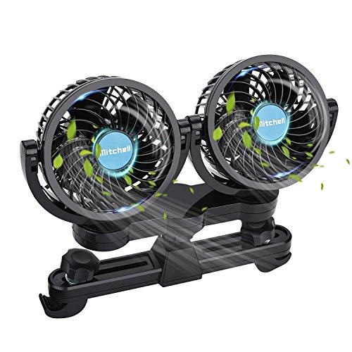 Fansport Ventilador del Coche Eléctrico 12V Ventilador del Coche Ventilador Potente Ventilador De La Cabeza Doble De Bajo Ruido para El Asiento Trasero del Pasajero