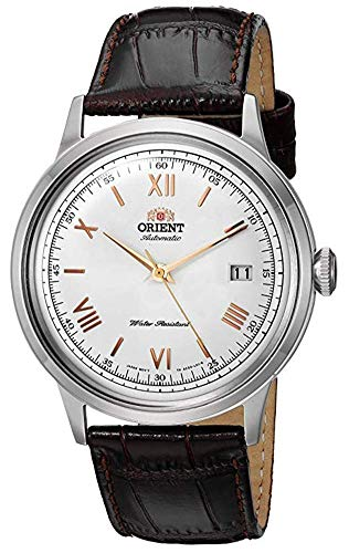 Orient Men's 2nd Gen. Bambino Ver. 2 Stainless Steel Japanese-Automatic Watch with Leather Strap, Brown, 21 (Model: FAC00008W0)