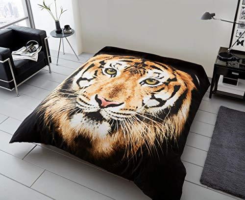 Manta de forro polar con efecto de piel sintética de visón, 200 x 240 cm, diseño de cara de tigre marrón
