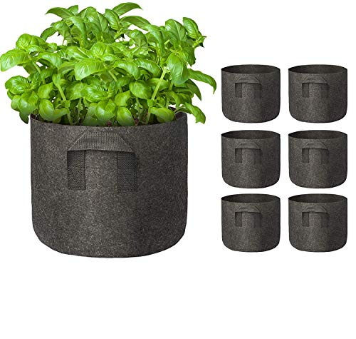 EEEKit 6-Pack 5 Gallon Plant Grow Bags for Potato, Heavy Duty Nonwoven Aeration Fabric Plants Pots with Sturdy Handles, Flowers Pots Container for Nursery Garden Planting (Black)