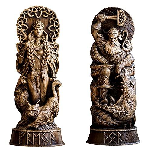 MOXIAONAI Estatua de Resina de Dios nórdico, panteones escandinavos, Figura de Dioses nórdicos, mitología vikinga, estatuilla Artesanal para el hogar, casa, Sala de Estar, Porche, gabinete (C+A)