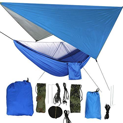 Fdit hangmat voor de tuin, draagbaar, met muggennet, hangmatset voor op de camping, terras, ontspanning