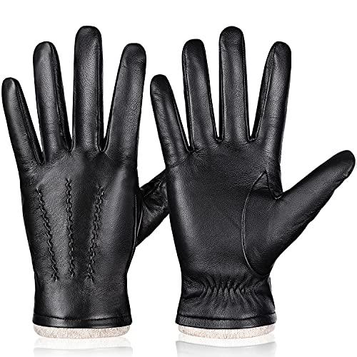 Gants d'hiver chauds en cuir véritable pour homme, doublure en cachemire pour écran tactile, Noir , M