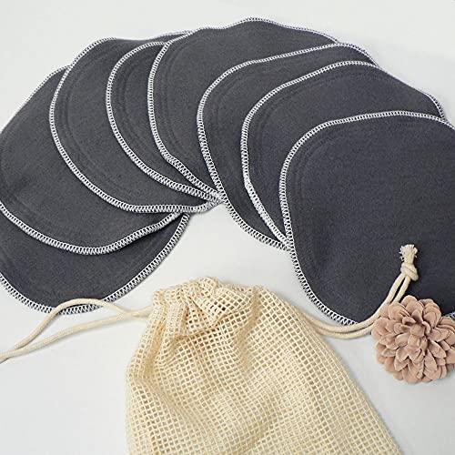 8 toallitas lavables de algodón orgánico gris