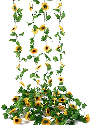 Beferr 4 Pcs Artificial Sunflower Garland, Silk Sunflower Vine with Leaves, Faux Flowers Fake Wall Hanging Plants for DIY Wreath, Home Wedding Party Garden Office Decorate