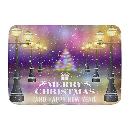 Tapis de Porte, Fantasy Street View Joyeux Noël Vintage Street Light Shining Snow Floating Colorful Halo Happy New Year, Kitchen Floor Bath Rug Mat Indoor Bathroom Decor Paillasson antidérapant