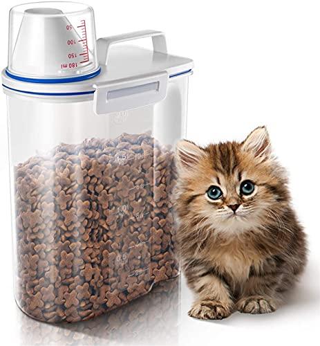 LHY Contenedor de Almacenamiento de Alimentos 2l Envase de Alimentos para Mascotas herméticos con Copa de Copa de vertido para pájaros Peces Pez pequeño BPA Gratis