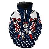 Shirt à Capuche Hommes Sweat - New England Rugby Fans 3D Jersey Unisexe Cardigan Casual Printemps Football à Manches Longues Veste De Sport Unisexe Zip,New England Patriots-XXXXL