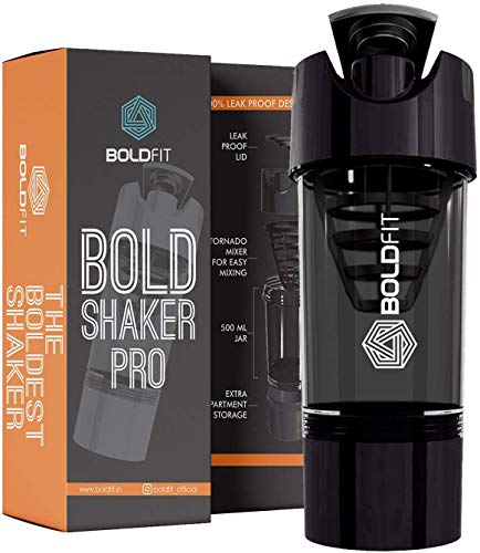 Boldfit Gym Shaker Pro Cyclone Shaker 500ml with Extra Compartment, 100% Leakproof Guarantee, Ideal for Protein, Preworkout and BCAAs, BPA Free Material Sipper Bottle (Black)