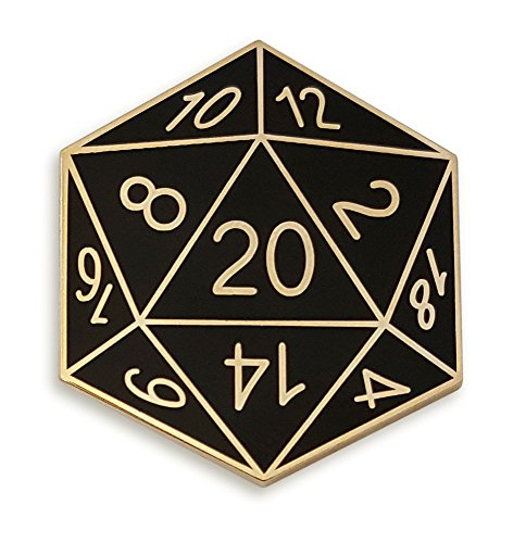 Pinsanity Twenty-Sided Die Enamel Lapel Pin,Black,1.2 inch
