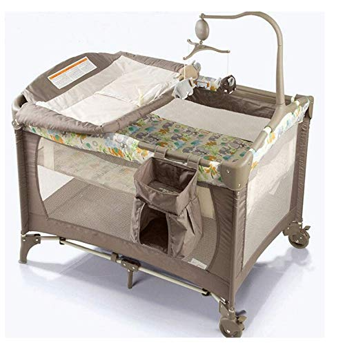 Portable kinderbed Opvouwbaar Multi-function reizen Bed, Opvouwbaar Bed, Wervelende Toys, Wielen & Brake, grote capaciteit mand, Oxford Carry Bag (Color : A)