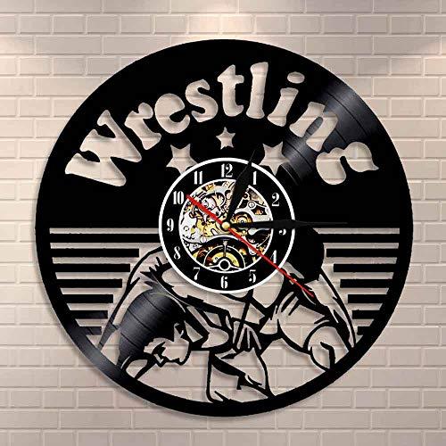 Reloj de pared Freestyle Lucha de Combate Deporte Colgante de Pared Luchadores Boxeo Club Decoración Reloj de Pared de Vinilo