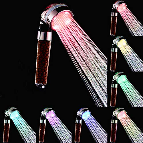 Daofin Filtered Led Shower Head Color Changing High Pressure Mineral Stream Shower Head Led Lights Gradual Change with Beads Eco Ionic Handheld Spray Filter for Hard Water and Chlorine Bath