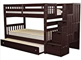Bedz King Stairway Bunk Beds Twin over Twin with 3 Drawers in the Steps and a Twin...