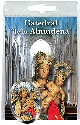 Imán Virgen de la Almudena (Madrid) de metal niquelado con oración en español (paquete de 3 piezas)