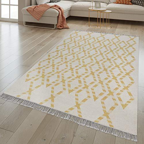 TT Home Tappeto per Soggiorno Tessuto a Mano Geometrico Design scandinavo Lana Cotone Giallo, Größe:120x170 cm