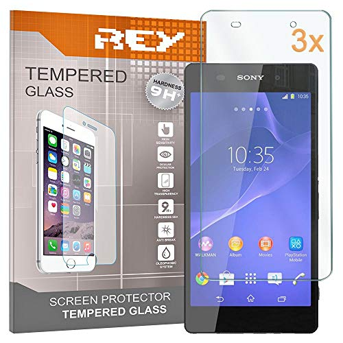REY 3X Protector de Pantalla para Sony Xperia Z2, Cristal Vidrio Templado Premium