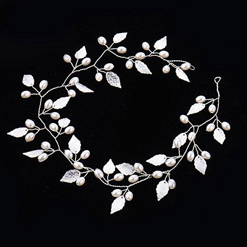Oshide Weiß Perlengirlande Blatt Haar Accessoires, Braut Hochzeit Haarschmuck Brautschmuck(Silber) - 5
