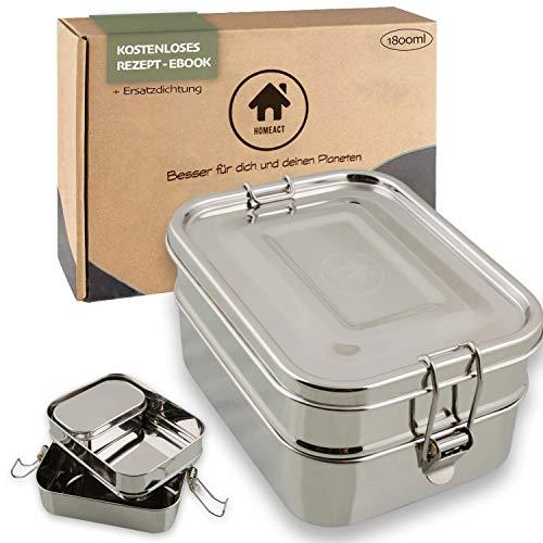 homeAct Premium Brotdose Edelstahl Eco | GRATIS Ersatzdichtung & Trennsteg | umweltfreundlich, auslaufsicher | Edelstahl Bento Box Brotbüchse | Schule, Uni, Arbeit, Camping